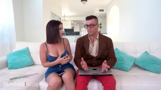 Screen Capture of Video Titled: Trickery - Busty Latina Tricks Computer Nerd Into Sex