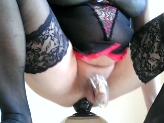 Sissy In Chastity Has Anal Sex Riding A Dildo & Cumshot_Cam.1