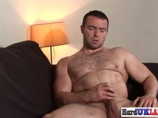 European jock masturbates hard then cums