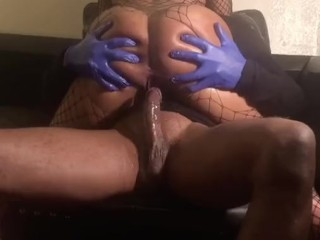 Ebony hood bitch squirting  non stop on big black dick