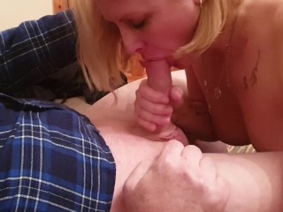 Hubby films me sucking my fuckbuddys cock and swallowing his juicy load