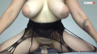 Amateur MILF Big Natural Tits Bounce as She Rides Her Dildo   CAM4