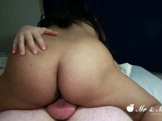 She Doesn't Let Him Pull Out - Has No Choice But To Cum Inside