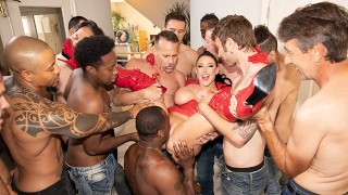 Jules Jordan - Swarmed By 13 Guys Angela White's Biggest Blowbang Ever