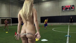 Screen Capture of Video Titled: COLLEGE RULES Coedes Play A Friendly Game Of Strip Dodgeball