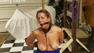 Naughty Milf Ballgagged and Chained to Brass Pole Nude!