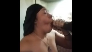 Ebony mom gets huge facial from sons friend