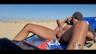 Nude beach hugcock flashing while cumming a huge load and being watched