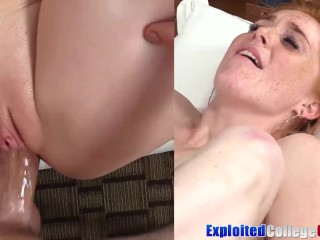 College ginger Jayme slammed and sprayed by big cock cum