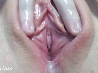 Wet pussy girl emits a lot of juice after Masturbation close up