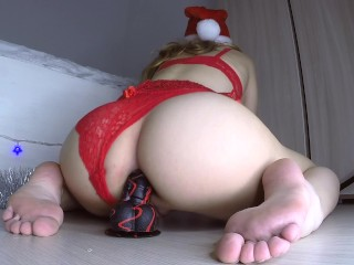 CHRISTMAS ANAL DILDO RIDING