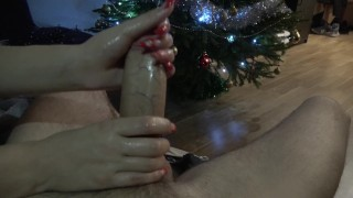 After Christmas Dinner : Edging Handjob with Long Nails by Mimi Boom 4K