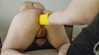 Young boipussy is getting stretched wide by hands and big toys