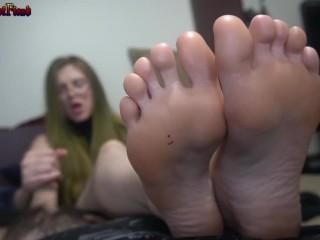 FOOTPUNKZ.XYZ FOR FULL VID - Blonde Bombshell Foot Tease & Worship Handjob..Big Cumshot - Preview