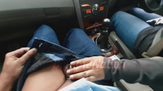 Baby in chastity being teased in Mommys car