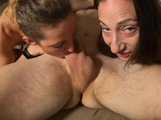 Threesome Ball Worship with Hot Wife