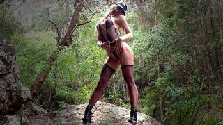 secretcrush4k – sweet public oiled perfect big butt fishnet dancing in rain – teen porn