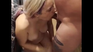Mom let's stepson facefuck her whilst his dad is away