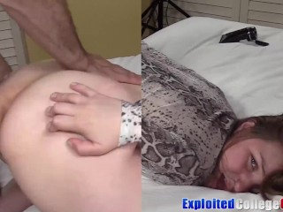 coed Clove fed jizz after fucking in her 1st porn