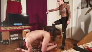 A slave caned & whipped by her dominant mistress pt2 HD hun