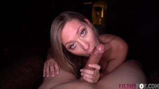 Screen Capture of Video Titled: Hot Teen Addison Lee Gives POV Blowjob