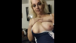 CHUBBY BIG TIT MILF FINGER FUCKED WHILE GIVING A MORNING BLOWJOB SWALLOW