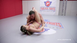 Screen Capture of Video Titled: Carmen Valentina mixed nude wrestling vs Lance Hart for rough sex reward
