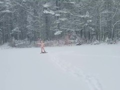 Hardcore tgirl strips and jerks herself in the snow