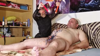Cbt w Wax torture by sexy goth domina for fat slave pt1 HD