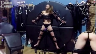 K can't escape the vibrator while gagged and strapped to the wheel