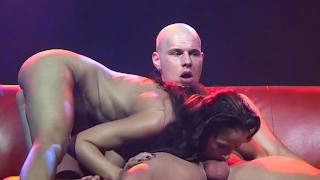 extreme deepthroat on public stage