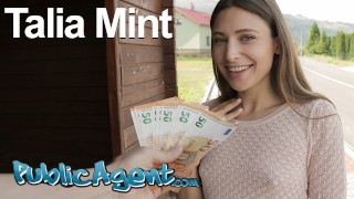Public Agent Hot brunette Talia Mint sucks and fucks outdoors