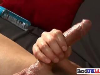 Muscular european stud jerking his dick