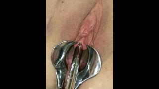 Female Urethral Stretching Sub female peehole stretching & pissing PART 1