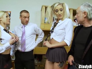 Naughty school girls end up in detention with 2 big rods