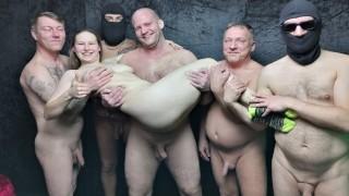 Six Cocks for a Hairy Teen - Real Amateur Gang Bang