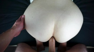Hot young bubble butt MILF anal quickie while friends downstairs