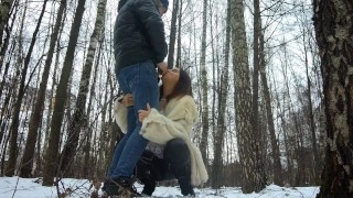 Cum in mouth after blowjob in the winter forest!