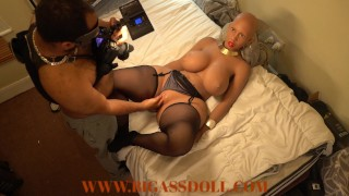 Bald head native African girl from tribe got fisted by tourist and footjob