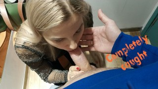 Screen Capture of Video Titled: Caught In The Dressing Room During a Blowjob - Letty Black