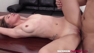 Hot Melody spreads legs for first anal casting and creampie
