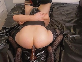Submissive sissy husband pussy licking while rides dildo, cuckold, orgasm