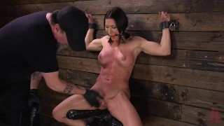 Muscle Babe Ariel X Tormented in Steel Bondage and DP'd