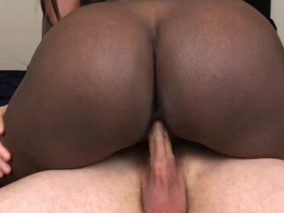 Black Girl Rides White Dick And Takes Cum In Her Teen Pussy