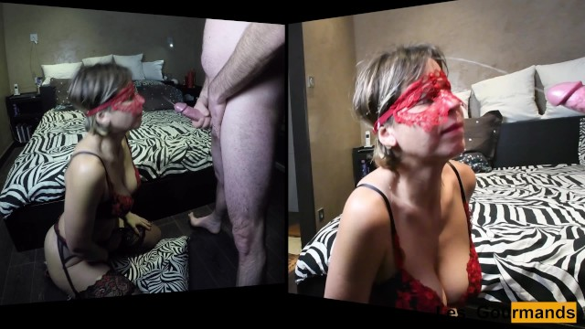 Very sexy MILF on her knees takes a huge facial in double views