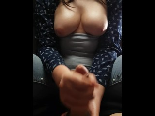 PERFECT HANDJOB FROM A SCHOOLGIRL WITH BIG TITS