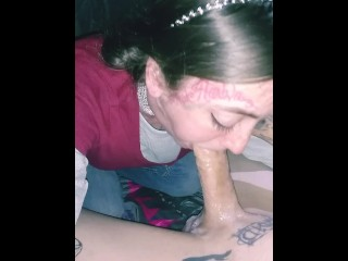 Late night sloppy deepthroat from my sexy wife ORAL CREAMPIE