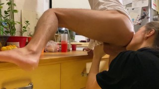 Sex On Kitchen Table - Intense Rimjob and Blowjob