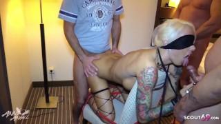 German Teen Slave Seduce to Bareback Gangbang with Huge Cock