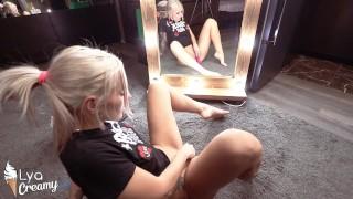 Sexy Blonde Masturbate Vagina Sex Toys at Mirror - Intensive Orgasm
